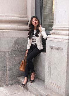 84461de6e985 how to dress professionally for work in a business casual office Black  Slacks Outfit, Denim
