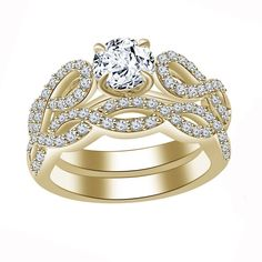 New Yellow Gold Over .925 Silver White CZ Engagement Ring & Band Bridal Ring Set #adorablejewelry #SolitairewithAccents #EngagementWedding