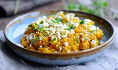A Nordic pearl barley risotto with pumpkin, feta cheese and thyme, perfect for this time of year with seasonal hokkaido pumpkins.