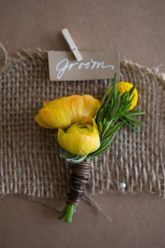 Rustic barn wedding with twine, burlap and craft paper details. Petite rustic boutonniere in yellow and green. The Barns at Wesleyan Hills Rustic Wedding in Middletown, CT designed and planned by Jubilee Events. Wedding Planning On A Budget, Budget Wedding, Wedding Themes, Wedding Decorations, Wedding Ideas, Wedding Flower Design, Wedding Flower Inspiration, Boutonnieres, Yellow Boutonniere