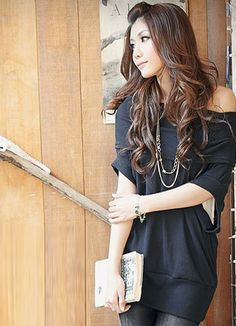 Lovely Off Shoulder Black Ladies Blouses  Item Code:#JJ81912+Black  Price: US$8.40