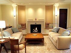 I like the seating beside the fireplace.