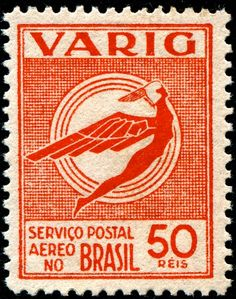 Brazil: 1934; Semi-Postal stamp printed and issued not by the Brazilian postal service, but instead by VARIG (an acronym for Viação Aérea RIo-Grandense), the first airline founded in Brazil, in 1927. [Scott No. 3CL30]