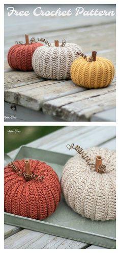 Autumn Pumpkin Free Crochet Pattern #freecrochetpatterns #crochetpumpkin #halloweendecorations