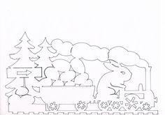 Easter Bunny Egg Locomotive Template for Easter papercutting art  Zajíček v mašince
