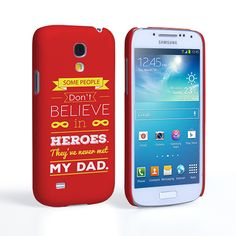 Caseflex Dad Heroes Quote Samsung Galaxy S4 Mini Case - Red | Mobile Madhouse