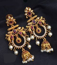 Long Chandbali Earrings Aashkaanya is an Online Traditional Indian Imitation Jewelry Boutique. The new destination for your shopping hub. Explore all collection for new designs and more colors. Gold Jhumka Earrings, Indian Jewelry Earrings, Silver Jewellery Indian, Jewelry Design Earrings, Gold Earrings Designs, Gold Jewellery Design, Antique Earrings, Beaded Jewelry, Silver Jewelry