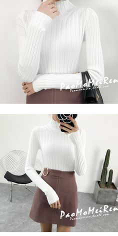 ef332509abb34e 2019 White turtleneck sweater and semi small fresh female short thick slim  tight long sleeved all