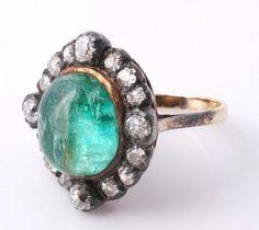A Georgian Emerald And Diamond Ring, Circa 1820