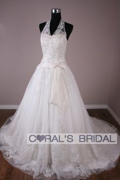 lace ballgown wedding dresses | Home  SPW09006C HALTER LACE BALL GOWN WEDDING DRESS