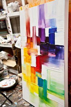 Original contemporáneo moderno abstracto pintura por OsnatFineArt