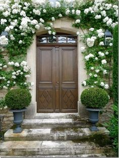 Love the climbing roses paired with the perfectly trimmed boxwood topiaries.