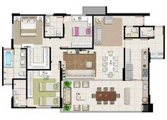 Planta baixa - Apartamento 3 suítes - Borges Landeiro Prime