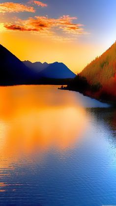 Nature iPhone 6 Plus Wallpapers - Sunset Over Lake Mountains iPhone 6 Plus HD Wallpaper Beautiful Nature Wallpaper, Beautiful Sunset, Beautiful World, Beautiful Landscapes, Beautiful Places, Wonderful World, Nature Pictures, Cool Pictures, Beautiful Pictures
