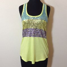 ❌ FINAL PRICE Sequin Razorback Tank NWOT sequin top.  Stretchy cotton blend. Express Tops Tank Tops
