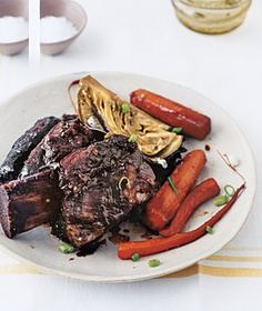 Slow-Cooker Asian Short Ribs--hands down, one of my family's favorite recipes AND so easy. I leave the veggies out and make them on the side, because the cabbage makes the house smell, and I like the veggies not to taste the same as the meat. Otherwise, follow the recipe!