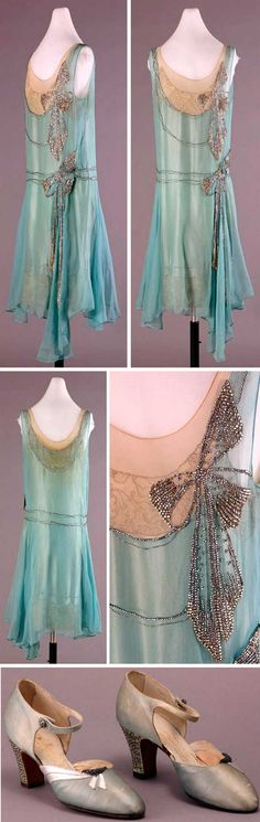 Dress, Peggy Hoyt, New York, 1928. Turquoise silk georgette over aqua crepe-backed satin. Aqua lace embroidered with gold thread at hem and neckline. Large rhinestone bows on left side. Dropped waistline and slightly uneven hem with longer panels on left side. Machine- and hand-sewn. Shoes of turquoise silk, with rhinestone & metal decorations, are by Edward Cohen, and were made to match dress. Rhinestone-studded Cuban heels. Wayne State Univ.