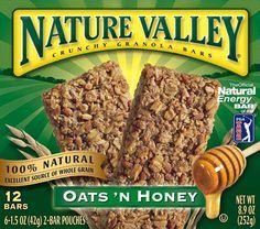 "Nature Valley Oat's 'N Honey  -100% natural  -Green color  -""Natural Energy Bar"""