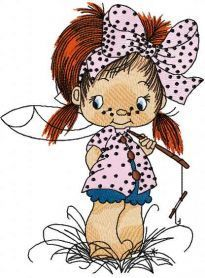 Cute little fisher girl embroidery design. Machine embroidery design. www.embroideres.com