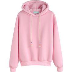 Pink Drop Shoulder Drawstring Hooded Sweatshirt ($14) ❤ liked on Polyvore featuring tops, hoodies, pink, hoodies pullover, hoodie pullover, pink hoodie, hooded pullover sweatshirt and drawstring hoodie