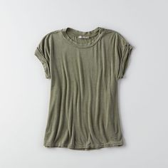 AEO Don't Ask Why Boxy T-Shirt ($22) ❤ liked on Polyvore featuring tops, olive green, drape top, olive green top, olive top, boxy top and american eagle outfitters