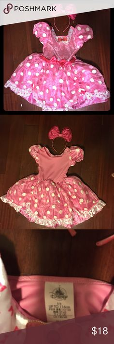 Minnie Mouse dress from Disney store Minnie Mouse dress from Disney store worn only one time. Excellent condition. Like new.  Please come look through my closet, form a bundle and make an offer! Thank you in advance for coming through. Disney Costumes