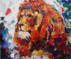 Löwe, Tiere, Gemälde, Acrylmalerei, Malerei