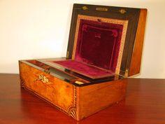 Antique Victorian Vintage Burr Walnut MOP inlay writing slope by TrafalgarAntiques