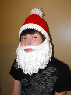 8224d77cd91 Santa Claus Beard Beanie Hat Crocheted Santa Hat with attached hand -looped  beard.  25.00