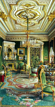 RUSSIAN MANORS ~ Palace of Count Pavel Stroganov, Oberschenk and collectioner, sponsor and count during the era of Nikolay II. The Lounge of Stroganovs Palace, the 19th century ~
