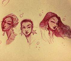 Pearl, starfish, and coral mermaids. #art #illustration #characterdesign #design #sketchbook #artistsoninstagram