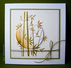 By Janja at Splitcoaststampers. The die-cut circle with embossed edge & sponging adds so much to the card! I like the way she scored the square, leaving unscored spots at upper left & lower right. Looks like she colored the stamp with 2 colors of marker or ink before stamping. A very pleasing card!