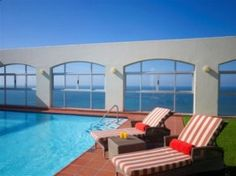 Pool side with views of the sea -The Southern Sun North Beach Hotel. Quote and Book http://www.south-african-hotels.com/hotels/southern-sun-north-beach-durban/
