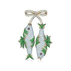 Tiffany & Co : Clip Deux poissons en or 18 carats, diamants et émail, par Jean Schlumberger. 102 000€