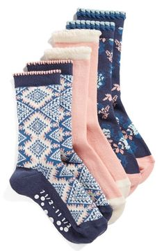 Tucker + Tate Floral Print Nonskid Socks (3-Pack) (Toddler & Little Kid) available at #Nordstrom