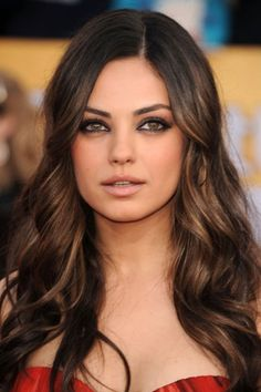 Dark brunette hair with caramel highlights. -  If I ever do decide to go darker, Mila's the girl I'll look to