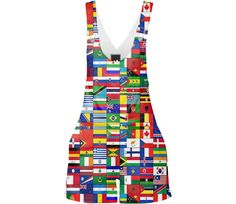 Shop WORLD FLAGS Shorterall by THE GRIFFIN PASSANT STREETWEAR (STREETWEAR) | Print All Over Me