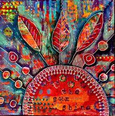 """Let the Sun Shine"" 8x8 acrylic on canvas.  Copyright 2014 Pamela Cisneros.  Available at www.PamelaCisneros.com"