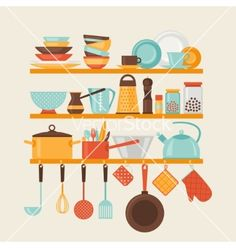 15 Kitchen Utensils Sketch : Card with kitchen shelves and cooking utensils in vector by incomible ...