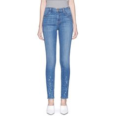 J Brand 'Maria' paint splatter high rise skinny denim pants ($248) ❤ liked on Polyvore featuring jeans, blue, skinny leg jeans, super skinny jeans, super high-waisted skinny jeans, high rise jeans and j brand jeans