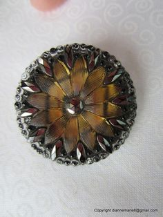 1800's Lacy Glass Button - Painted on Back to show through glass