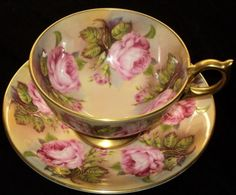 Aynsley PINK ROSES... tea cup and saucer