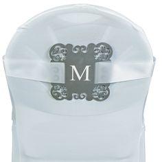 Roman Monogram Silver Laser-Cut Chair Decorations - OrientalTrading.com