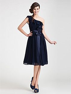 A-line One Shoulder Knee-length Chiffon Bridesmaid Dress – USD $ 129.99