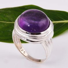 925 SOLID STERLING SILVER EXCLUSIVE AMETHYST CAB RING 8.05g DJR5907 #Handmade #Ring