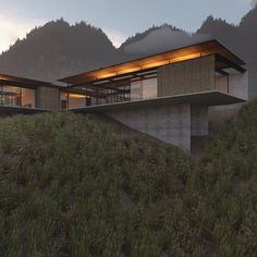 ove the floating roof and material combination of this stunning design from 🖤 _ Cantilever Architecture, Residential Architecture, Interior Architecture, Architecture Images, Minimalist Architecture, Amazing Architecture, Contemporary Architecture, Modern House Design, Exterior Design