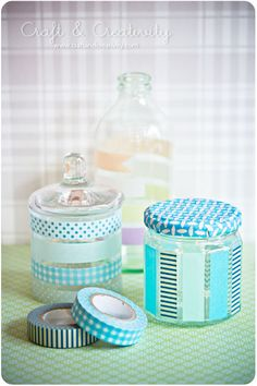 Washi taped jars and bottles. DIY. #washi tape #tape #jars #DIY