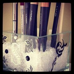 Chic Glass Square MakeUp Brush Holder 4X4 by PersonalizeYourStyle, $17.95