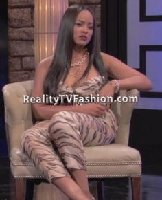 "Malaysia Pargo's ""Basketball Wives L.A."" Season 3 Reunion Show Strapless Tiger Print Jumpsuit"