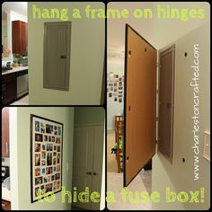 Is there an ugly fuse box in your home that you would like to get rid of? Try this great DIY to cover your fuse box. Take something pretty and use it to hide the ugly. Such an ingenious way to hide a fuse box. Electric Box, Breaker Box, Covered Boxes, Basement Remodeling, Home Organization, Home Projects, Locker Storage, Diy Home Decor, New Homes